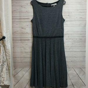 Loft Gray Sleeveless Dress Pleated Skirt